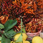 Lemons and chillies at the veg market