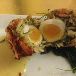 lobster scotch egg,samphire nest & coconut saffron curry