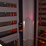 3 glass elevators viewing interior court of hotel