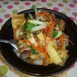 Duck, Pork, Green vegetables, and Bamboo Shoot Clay Pot