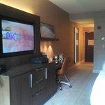 Big tv, refrigerator and coffee maker