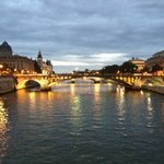 View of Pont Notre-Dame from Pont d'Arcole - Dusk