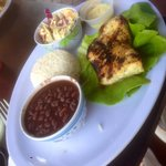 Grilled snapper with rice and beans