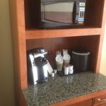 Microwave, coffee maker, and refrigerator provided in room is a very nice touch