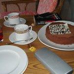 Anniversary cake waiting in room