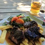 Rib Eye steak with chips and salad!!