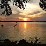 sunset kayers on Gunflint Lake.