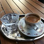 Turkish coffee outside on sideway