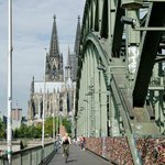 View of Hohenzollern Bridge with the Cathedral in the background.