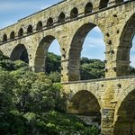 Stone blocks protruding from the Pont du Gard once supported scaffolding during its construction