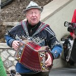 This old-time Swiss musician plays the accodian and fluegal horn in the afternoon