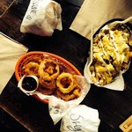 Imperial Swines, onion rings and stinky cheese fries.