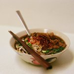 A bowl of Thai noodle soup