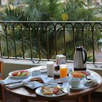 A delicious breakfast on our balcony.