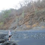 black sand beach and tide pools