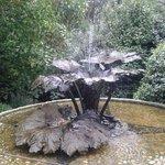 water fountain at garden entrance