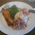 Slow cooked West Cork ham hock with leek and potato gratin, turnip greens & a dijon & parsley sa