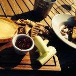 Camembert with bits and garlic Stilton mushrooms yummy