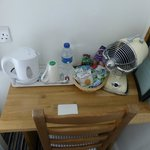Tea and coffee making facilities in room and fan