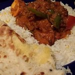 Chilli Chicken Curry, rice and naan