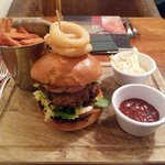 Absolutely delicious HANDMADE burger with the best potato fries!