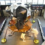 A spare lunar lander decked out as Apollo 11