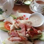 A hearty club salad with lunchtime tea.