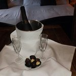 Lovely champagne and chocolates already in our room