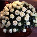 Gorgeous, huge rose arrangement in the lobby !
