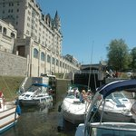 boating through the locks beside the Chateau Laurier
