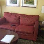 Small, saggy sofa
