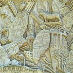 Closeup of relief depicting Roman shields on the imperial arch in Orange, France