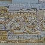 Closeup of a frieze depicting Roman warships on the imperial arch in Orange, France