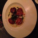 Scallops with chorizo polenta