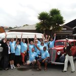 Competition winners enjoying a tour of Napier
