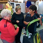 Rhonda demonstrating flax weaving