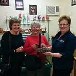 Sue offering a tasting at the Silky Oak Chocolate Factory.