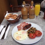 English breakfast with a mimosa. Lovely!!!!