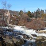 waterfall into Camden Harbor, Camden Maine