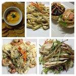 Nachoes, Chicken Pasta, Cheese Burger, Seafood Pasta and Chicken Salad