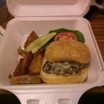 Mushroom Swiss Burger & fries.......