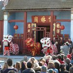 Joss House at the beginning of a traditional lion dance