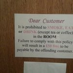 Don't eat or drink in your room!