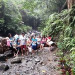 my group trekking to the falls