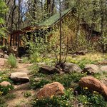 Fisherman's cabin in April -- on the bank of Christopher Creek