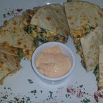 Breakfast quesadilla - has potatoes, bacon, and a great chipotle sauce!