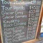 Tabela de preços dos TOURS