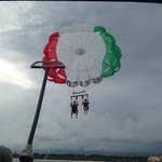 You can sign up for parasailing, right outside the resort.Extra cost