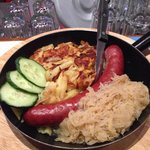 Traditional sausage, sauerkraut, and shredded potatoes. Absolutely excellent!