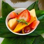 Fruit basket on arrival